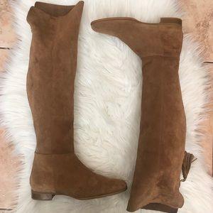Zara Suede Over The Knee Boots with Tassel Zip